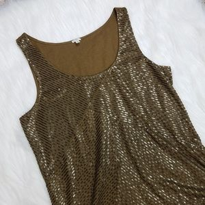 J. Crew Bronze Sequin Front Tank Top Medium